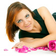 Stock Photo: Beautiful girl with rose and petals
