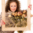 Beautiful girl with frame — Foto Stock