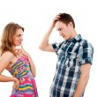 Foto Stock: Boy and girl flirt