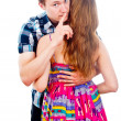 Boy and girl to keep quiet isolated indicates — Stock Photo