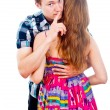 Boy and girl to keep quiet isolated indicates — Stock Photo #17382723