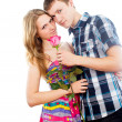 Boy gives a rose beautiful girl — Stock Photo