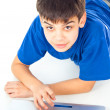 Boy learns a laptop — Stock Photo