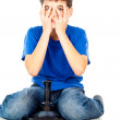 Boy playing a video game joystick — Stock Photo