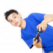 Boy plays video games on the joystick — Stock Photo #17383551