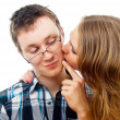 Girl kisses for a Man — Stock Photo