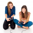 Girlfriend to play video games — Stock Photo