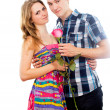 Happy couple in love with a rose — Stock Photo