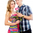 Happy couple with a rose — Stock Photo