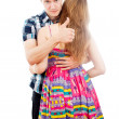 In love with a guy hugs a girl — Stock Photo