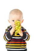 Beautiful child eats grapes — Stock Photo