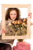 Beautiful girl with frame — Stock Photo