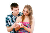 Guy pulls out a star for his girl — Stock Photo