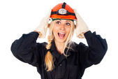 Happy girl builder thinking — Stock Photo