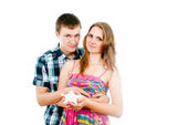 In love with guy with a girl holding a star — Stock Photo