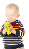 Little child holding grapes — Stock Photo