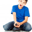 Stock Photo: Funny guy with joystick