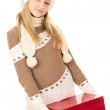 Girl in a hat holding a gift box — Stock Photo #18008049