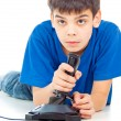 Intently boy playing video games — Stock Photo