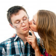 Love with girl kisses a guy — Stock Photo #18008303