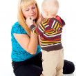 Mother comforting upset child — Stock Photo