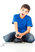 Funny guy with a joystick — Stock Photo