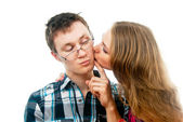 Love with girl kisses a guy — Stock Photo