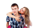 Love with girl with a guy — Stock Photo