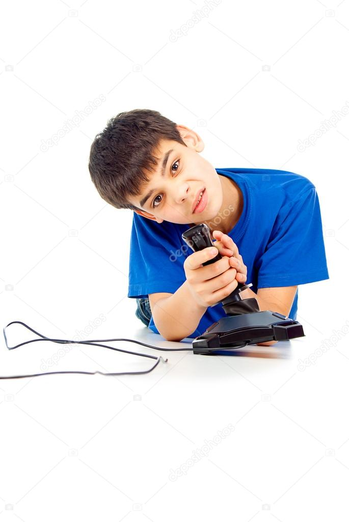 Funny guy plays video games on the floor — Stock Photo #18007957