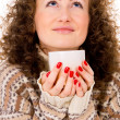 Portrait of a girl in a sweater with a mug of tea — Foto Stock