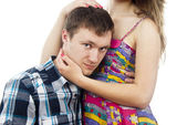 Portrait of a sad guy with a girl — Stock Photo