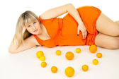 Pregnant woman lying — Stock Photo