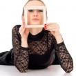 Beautiful girl holding a picture frame isolated — Stock Photo #18768945