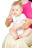 Beautiful Baby sits on her lap — Stock Photo