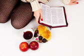 Bible, candy and tea — Stock Photo