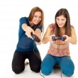 Girls play video games — Stock Photo