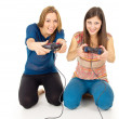 Sisters play video games — Stock Photo
