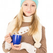Teen girl with a mug — Stockfoto