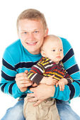 Happy young father with a baby isolated — Stock Photo