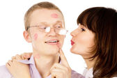 The guy ask his girl kiss him — Stock Photo