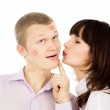 A handsome guy asks his girl kiss him — Stock Photo #20500989