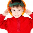 A little boy standing with a helmet — Stock Photo