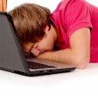 Guy student fell asleep for a laptop — Stock Photo