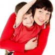 Mom hugging with a small child — Foto Stock