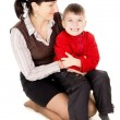 Mother gently hugs his baby — Stock Photo