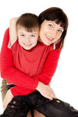 Mom hugging with a small child — Stock Photo