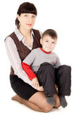 Mother gently holds his baby — Stock Photo