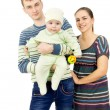 Beautiful parents holding the hands of his baby — Stock Photo