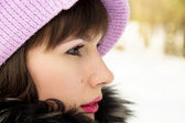 Beautiful girl on the nature in the winter — Stock Photo