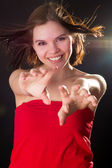 Beautiful girl poses, stretch out their hands — Stock Photo